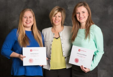 McPherson College scholarship recipients: Emily Warner, Valley Center, Kan., Amy Beckman with CHS Refinery and Johanna Hoffman of Goessel, Kan.