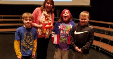 """Courtesy Photo Author Mo O'Hara, known for such works as """"My Big Fat Zombie Goldfish,"""" spoke to local elementary students as part of the activities planned by Amanda Harrison, district librarian."""